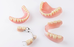 A series of denture types.