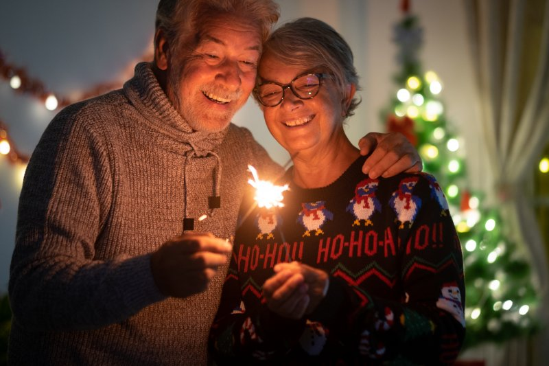 Smiling seniors during the holidays